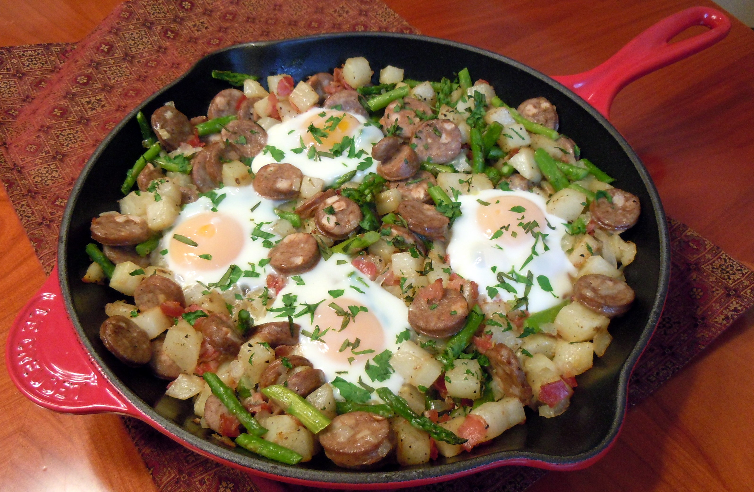 Chicken Apple Sausage Hash with Pancetta, Asparagus and Baked Eggs